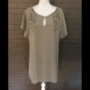 Zara  Taupe Embellished Dress  S